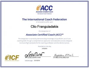 Clio Franguiadakis coach certifiée ACC par l'International Coach Federation