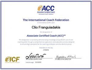 Clio Franguiadakis coach certifiée ACC par l'International Coach Federation