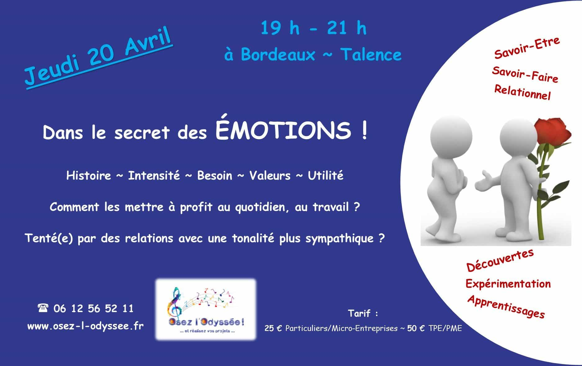 Atelier Coaching à Bordeaux 2017 AVRIL Osez l'Odyssee Emotions