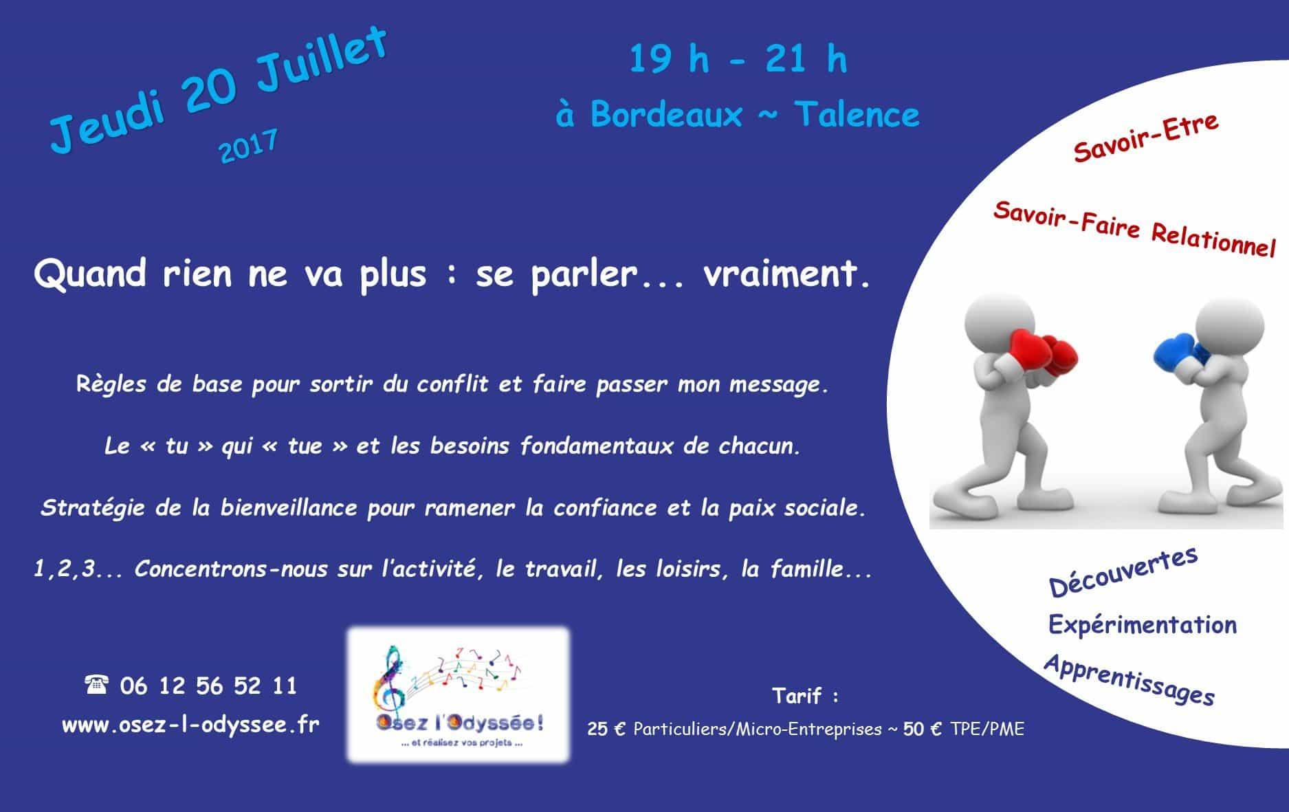 Atelier Coaching à Bordeaux 2017 Conflits Osez l'Odyssee