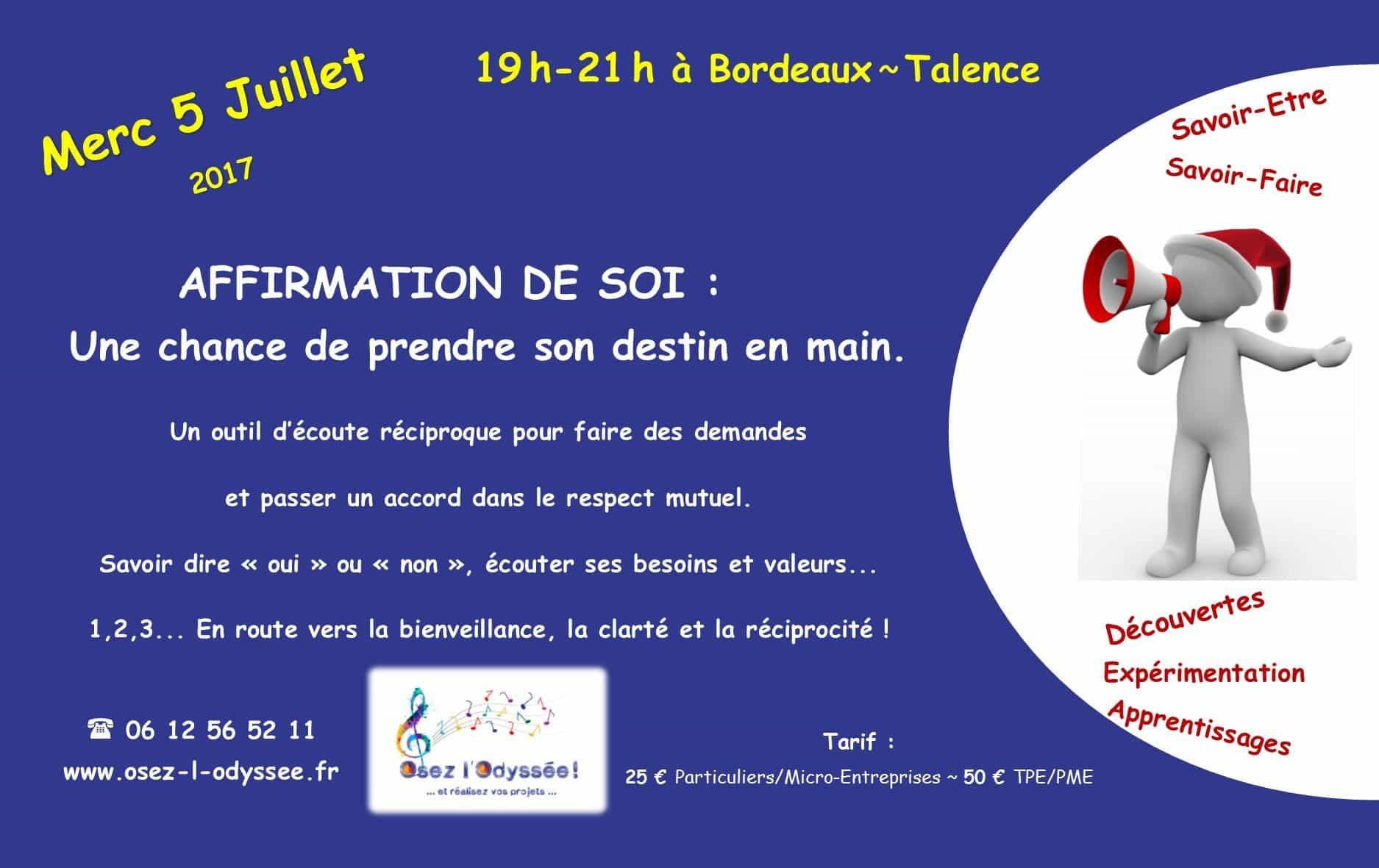 Atelier Coaching à Bordeaux 2017 Affirmation de soi Osez l'Odyssee