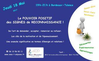 Atelier Coaching à Bordeaux 2017 Osez l'Odyssee Signes de reconnaissance